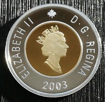 ** Canada  Toonie  2003  ** Proof  Sterling  Silver  With  24Kt  Gold  Plated **