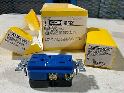 1x Hubbell HBL5260S Blue Duplex Receptacle w/Surge Suppression 15A 125V, NOS