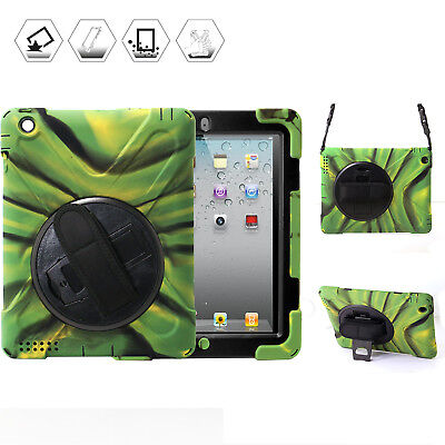 Rugged Shockproof Protective Case Cover for iPad 2/3/4 with Kickstand Hand Belt