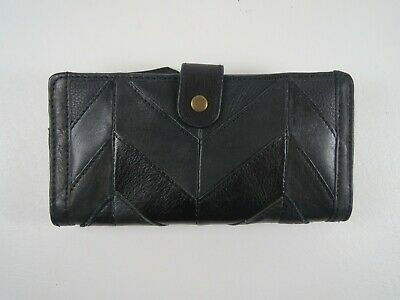 NWT Wilson Black Leather Wallet Multiple Compartment Zip Top Black Rivet NEW $80