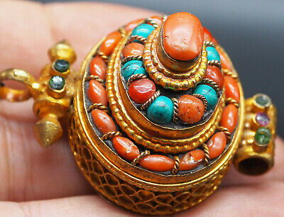 Excellent Tibetan Silver Gold Plated Charming Coral Turquoise Pendant #A456