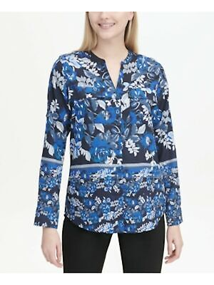 CALVIN KLEIN $69 Womens New Blue Floral Front Pockets  Cuffed Blouse Top S B+B