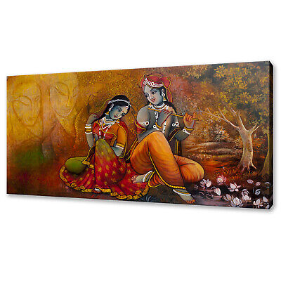 Lord Radha Krishna Flute Picture SINGLE CANVAS WALL ART Print Orange