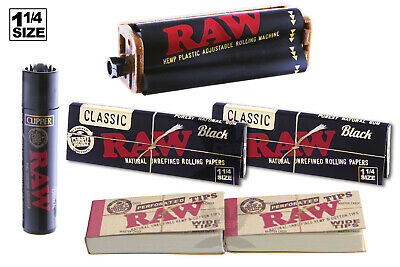 AUTHENTIC RAW BLACK (6PC) BUNDLE 1-1/4 SIZE ROLLING MACHINE+PAPERS+TIPS+Lighter