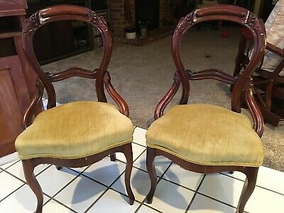 Pair Victorian Carved Gold Velvet Upholstered Walnut Parlor Chairs