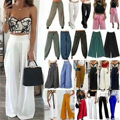 Plus Size Summer Women Wide Leg Flared Pants High Waisted Palazzo Yoga Trousers