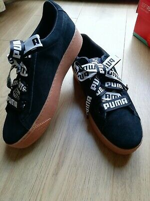 PUMA Vikky Ribbon Bold Black Suede Ladies Casual Trainers Size UK 4-8