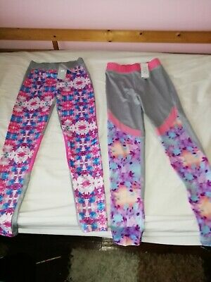 Set of 2 New Girls Souluxe Grey/Pink/Lilac Patterned Leggings Age 12-13 Years
