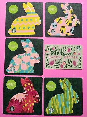 """Starbucks gift card 2020 """"EASTER BUNNIES DIE~CUT"""" 🔥6 CARDS~ NO VALUE~CUTE CARDS"""