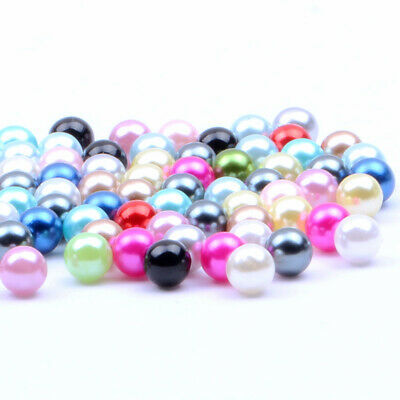 Mixed Sizes 2-8mm 300pcs Multiple Colors No Hole Round Pearls Nail Decorations