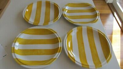 Vintage Grindley CABANA STRIPES Staffordshire 4 yellow white striped side plates
