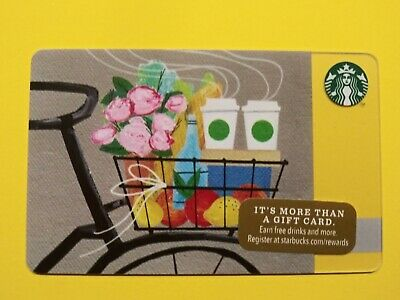 """Starbucks gift card 2014""""BICYCLE ROMANCE FLOWERS"""" A BEAUTY~ HTF~NO VALUE~RARE"""