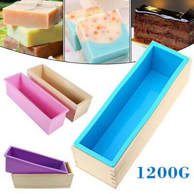 Wood Loaf Soap Mould with Silicone Mold Cake Making Wooden Box 1.2kg Soap DIY