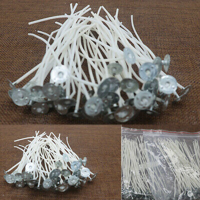 Pack of Pre Cotton Waxed Candle Wicks for Candle Making With Sustainers 12cm