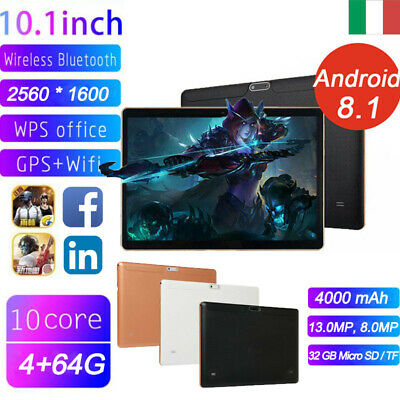 Tablet 10.1 pollici 4GB+64GB Tablet PC Bluetooth Android 8.1 Octa 10 Core