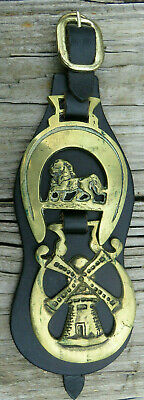 VTG Double Brass Horse Harness Medallion Leather StrapTack Great Britain England