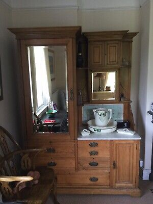 Original Antique Gentlemen's Edwardian Wardrobe In Ash
