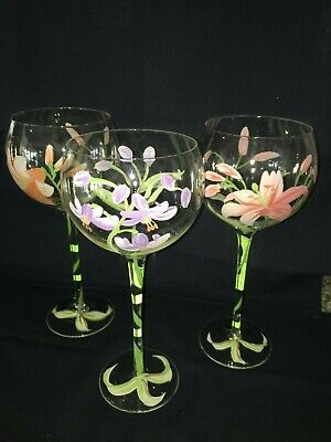 Block Crystal Large Wine Glasses Hand Blown/Hand Painted Flowers