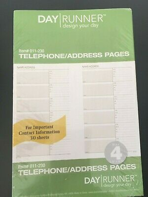 Day Runner Telephone/Address Pages 30 Sheets #011-230 7-Ring  Sealed