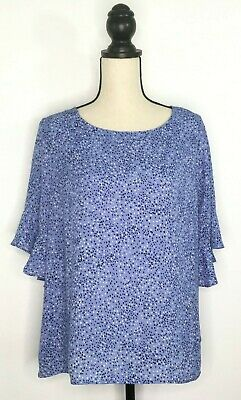 Liz Claiborne Career Womens Blouse Blue Polka Dots Size Petite XL