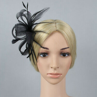 Mesh Knot Hair Band With Clip Party Feather Ribbon Wedding Flower Fascinator Hat