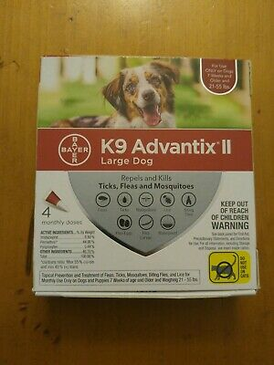 K9 Advantix II Flea Medicine Large Dog 4 Month Supply Pack K-9 21- 55 lbs  Ticks