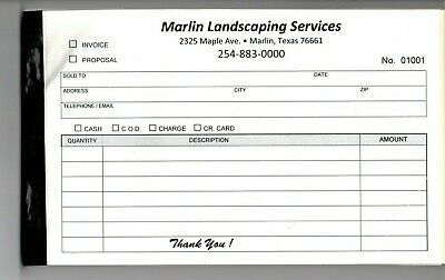 Your NAME Printed on INVOICES 2-Part Carbonless Paper
