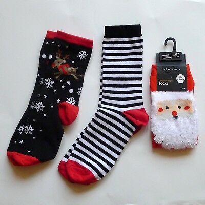 NEW LOOK Christmas Xmas Socks Ankle Red Striped Rudolph Santa 3-5.5 Small NEW