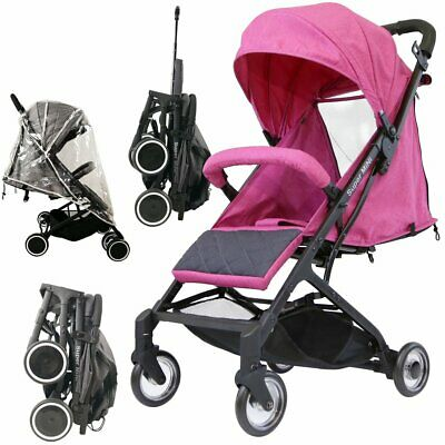 Baby Child Pink Super Mini Travel Stroller Complete with Raincover Lightweight