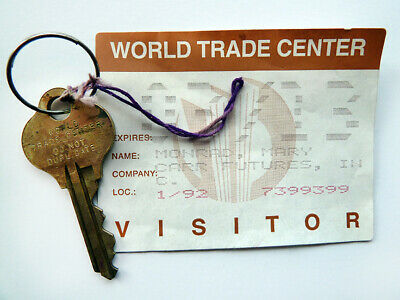 Authentic World Trade Center Office Key + Visitor Pass WTC, Pre-911 NYC 1992 USA