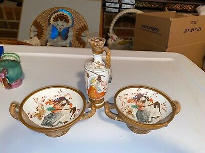 """Decorative Greek Pottery Two Wine Cups And Pitcher 6"""" Tall"""