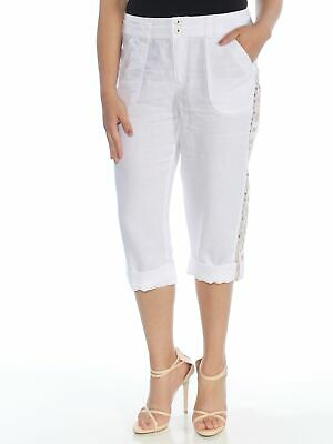 INC Womens White Embroidered Sequined Capri Casual Pants Regular Size: 4