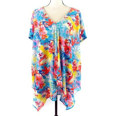 NY Collection Womens Top Size 1X Blue Yellow Red Floral Short Sleeve Blouse Plus