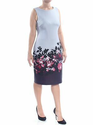 CALVIN KLEIN Womens New 1219 Gray Floral Sleeveless Sheath Dress 8 B+B
