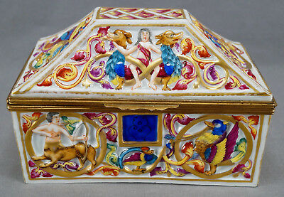 19th Century French Capodimonte Style Hand Painted Griffins Centaurs Box Casket