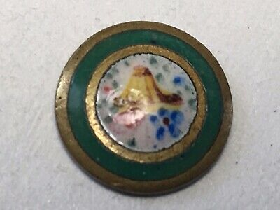 Antique Button French Hand Painted Enamel of Bird Tiny Emaux Peints w Shank
