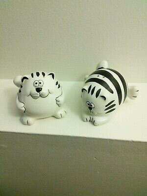 pier 1 Chubby Fat Cat Salt and Pepper shakers. Black White Stripes