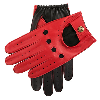 Dents Waverley Men's Leather Driving Gloves Luxury - Berry/Black