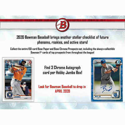 2020 BOWMAN BASEBALL JUMBO -  unopened HOBBY BOX -pre sale (release approx 4/15)