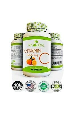 Natural Vitamin C 1000 mg. 100 Capsules Supports Immune System, Heart, And Skin