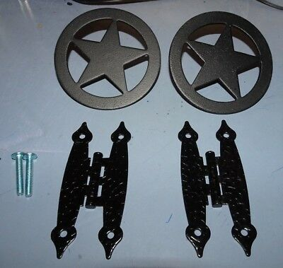 Cast Iron New Western 2 Drawer Knob-Pulls Texas Star And 2 Cabinet Hinges 4 Set