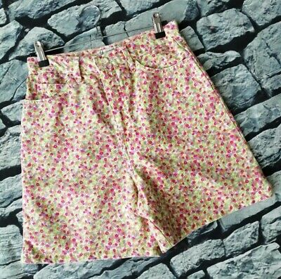 Vintage 80s 90s Not Guilty high waisted floral ditsy denim summer shorts M