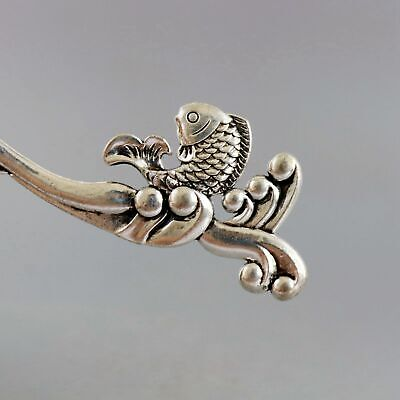 Collect China Old Miao Silver Hand-Carved Fish & Waves Delicate Decor Hairpin