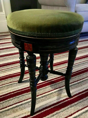 Antique Victorian (1880) Ebonised Piano Stool Music Seat