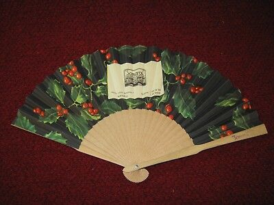 Vintage Hand Fan Holly Berries Samaral Camiseria Madrid, Spain 7-1/4""