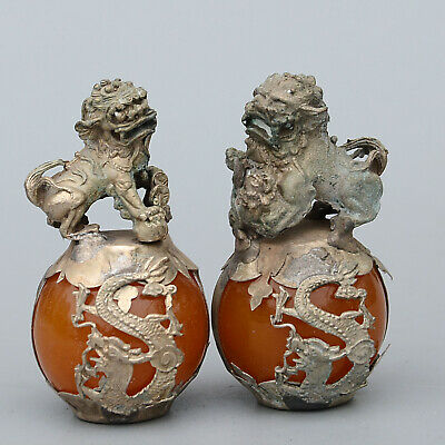 Collect Old Miao Silver Armour Agate Carved A Pair Roar Lion Exorcism Statue