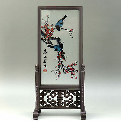 Collectable China Old Glass Hand Paint Plum Blossom & Magpie Luck Screen Statue