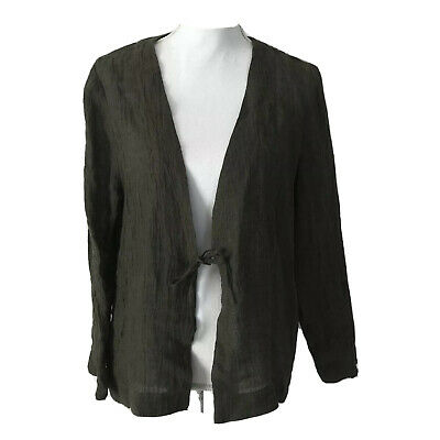 Pure Jill Linen Top Size M Petite PM Tie Front Cardigan Olive Green