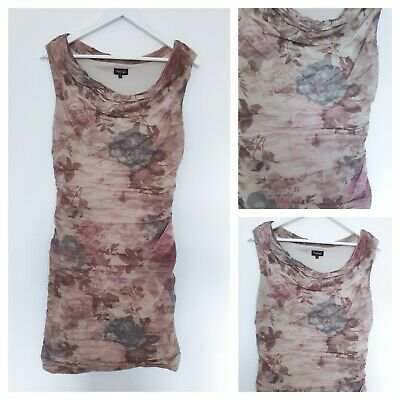 Phase Eight Blush Pink Floral Ruched Draped Rose Beige Bodycon Dress Size 14 12