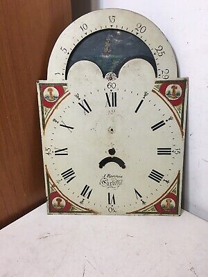 Antique Grandfather Clock Dial J Rennie Carlisle W/ Moonphase Hand Painted